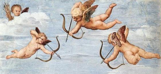 Cupidos. Fragmento del fresco El triunfo de Galatea, pintado por Rafael Sanzio en la Villa Farnesiana