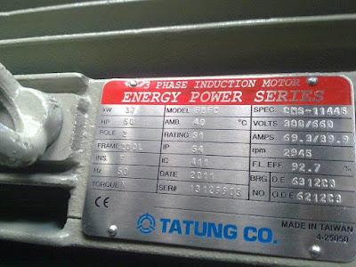 Name Plate Motor Induksi 37kW