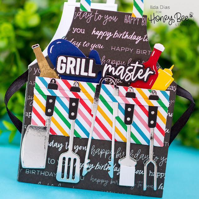 Birthday Apron,Grill Master, Gift Card,Honey Bee Stamps, Let's Celebrate, Apron A2,Apron: BBQ Add-on, Kiss The Cook,Card Making, Stamping, Die Cutting, handmade card, ilovedoingallthingscrafty, Stamps, how to, dies