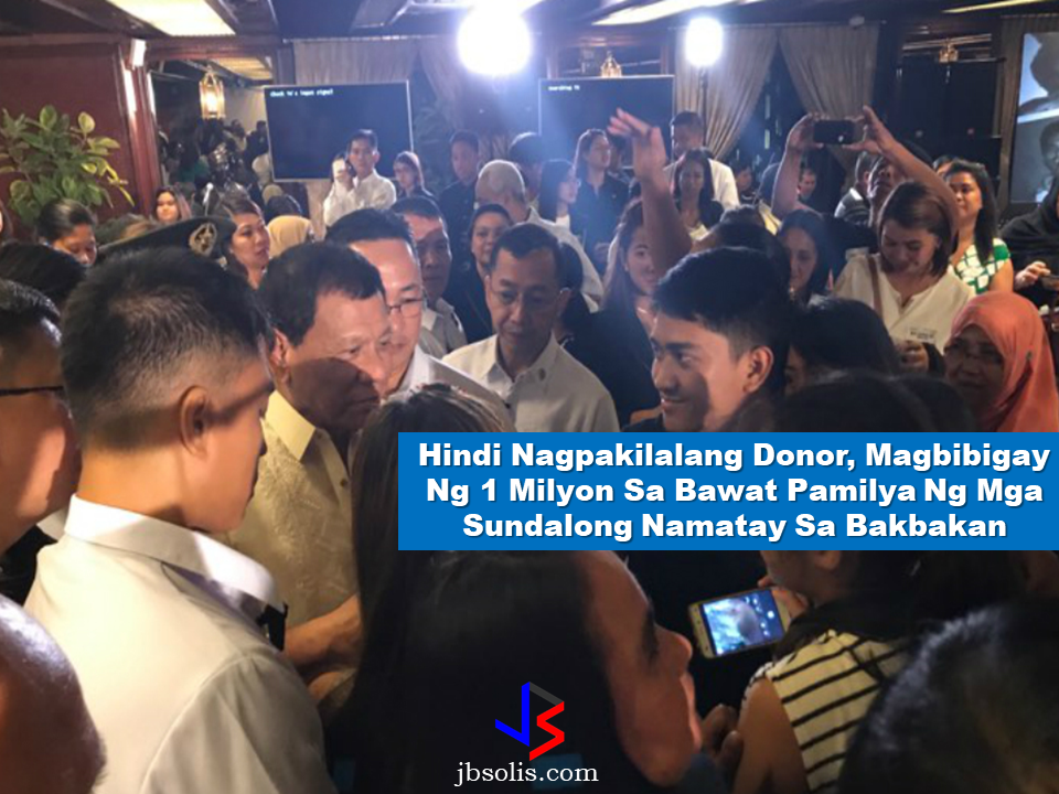 "On his speech on Tuesday, President Rodrigo Duterte said that an anonymous donor out of his willingness to help,  has decided to give P1 million to each of the families of soldiers and policemen who has offered their services in the expense of their own lives in the conflict in Marawi City.  Duterte's announcement has gained deafening applause from the bereaved families who were invited to Malacañang for the turnover of financial assistance from the Go Negosyo Kapatid Family Fund and the Federation of Filipino-Chinese Chamber of Commerce and Industry Inc.  Duterte said that the donor doesn't want to be publicly recognized.   Dubbed as the  Go Negosyo ""Kapatids"" , they are a group of the country's wealthiest people , among them  Manny V. Pangilinan,CEO of the First Pacific Company,  Lucio Tan, LT Group CEO and Vice Chair Teresita Sy-Coson of SM Investments Corp. They are all present at the said event. Some of the families were also given a privilege to fly from their provinces to Manila for free courtesy of  the Tan-owned Philippine Airlines. Free hotel accommodations were also given to them.  Watch the full video of President Rodrigo Duterte's speech below:  Meanwhile, President Duterte said that the Philippines will be forever grateful to the fallen soldiers. ""Our troops knew of the danger that they will face upon the venture into the warzone. Still, they bravely took up the challenge so that they can bring peace and liberation to the besieged city,"" Duterte said. The Marawi City crisis which is now on its third month since it has ignited, a total of 109 government troops  are among at least 607 who have died in the clashes, majority of those killed were terrorists.  On May 23, the conflict erupted between government forces and Islamic State-linked terrorist groups who had set out to establish an ISIS province in Mindanao. With the battle still up in Marawi, Duterte told state troops fighting there to always keep safe.  Source: ABS-CBN News Read More:  The effectivity of the Nationwide Smoking Ban or  E.O. 26 (Providing for the Establishment of Smoke-free Environment in Public and Enclosed Places) started today, July 23, but only a few seems to be aware of it.  President Rodrigo Duterte signed the Executive Order 26 with the citizens health in mind. Presidential Spokesperson Ernesto Abella said the executive order is a milestone where the government prioritize public health protection.    The smoking ban includes smoking in places such as  schools, universities and colleges, playgrounds, restaurants and food preparation areas, basketball courts, stairwells, health centers, clinics, public and private hospitals, hotels, malls, elevators, taxis, buses, public utility jeepneys, ships, tricycles, trains, airplanes, and  gas stations which are prone to combustion. The Department of Health  urges all the establishments to post ""no smoking"" signs in compliance with the new executive order. They also appeal to the public to report any violation against the nationwide ban on smoking in public places.   Read More:          ©2017 THOUGHTSKOTO www.jbsolis.com SEARCH JBSOLIS, TYPE KEYWORDS and TITLE OF ARTICLE at the box below Smoking is only allowed in designated smoking areas to be provided by the owner of the establishment. Smoking in private vehicles parked in public areas is also prohibited. What Do You Need To know About The Nationwide Smoking Ban Violators will be fined P500 to P10,000, depending on their number of offenses, while owners of establishments caught violating the EO will face a fine of P5,000 or imprisonment of not more than 30 days. The Department of Health  urges all the establishments to post ""no smoking"" signs in compliance with the new executive order. They also appeal to the public to report any violation against the nationwide ban on smoking in public places.          ©2017 THOUGHTSKOTO www.jbsolis.com SEARCH JBSOLIS, TYPE KEYWORDS and TITLE OF ARTICLE at the box below"