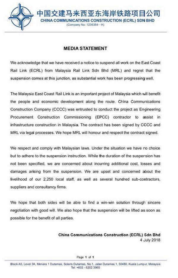 CCCC kecewa dengan perintah penggantungan kerja ECRL