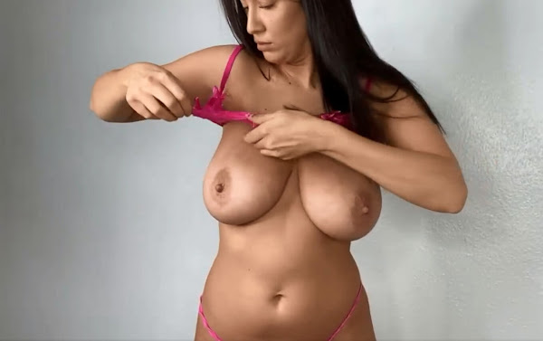 try on haul-busty-glamour-model-topless-1