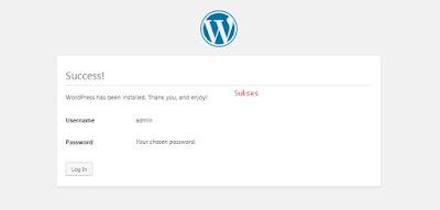 Sukses Wordpress anda berhasil terinstal dan sudah bisa digunakan