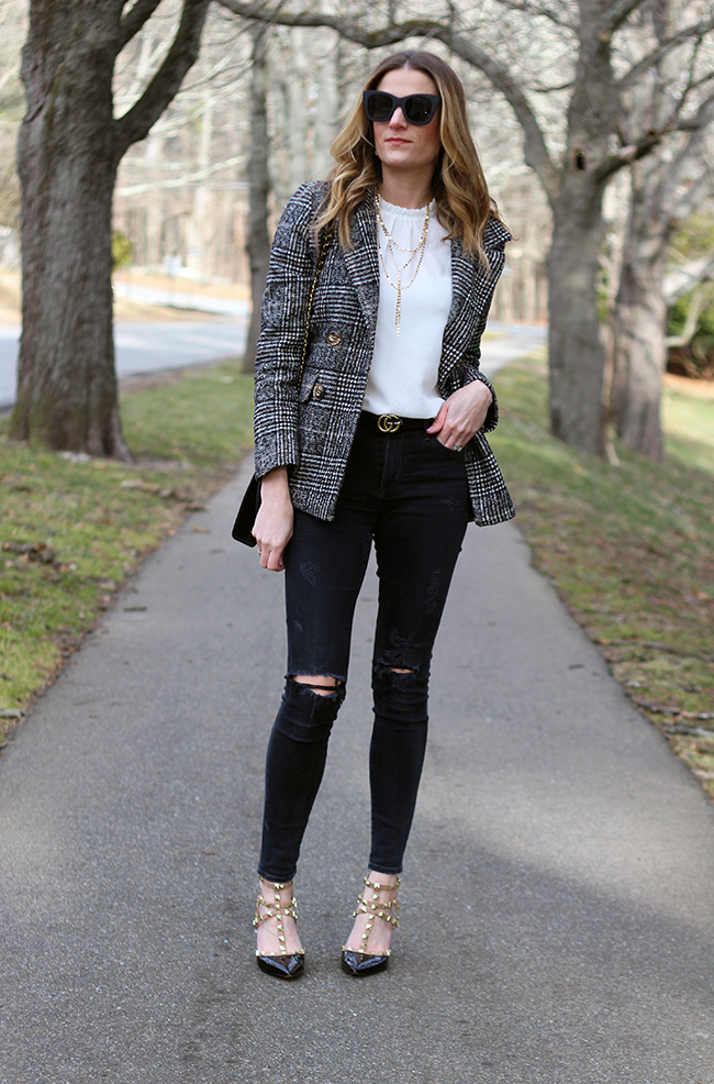 White Blouse and Tweed Blazer #whiteblouse #tweedblazer