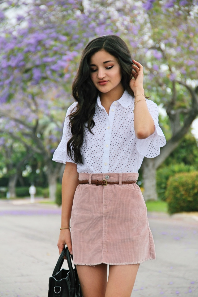 madewell white eyelet bell sleeve ruffle blouse brandy melville blush pink corduroy juliette skirt outfit