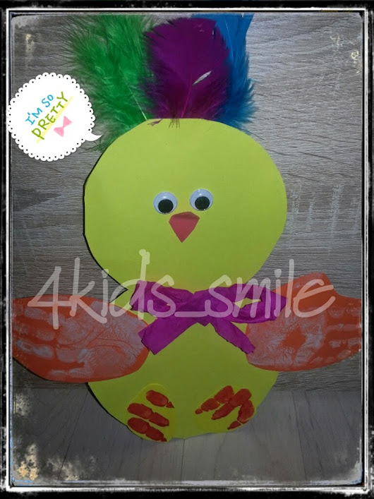 Easter chick, peep peep-))) Easter craft with handprint