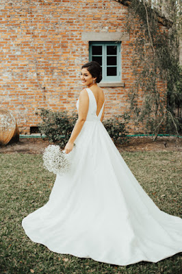 back of bride in dress