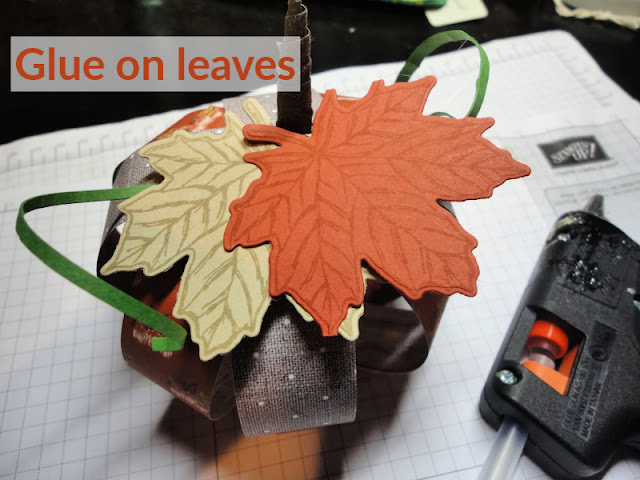 Glue on leaves to top of pumpkin - Nicole Steele The Joyful Stamper