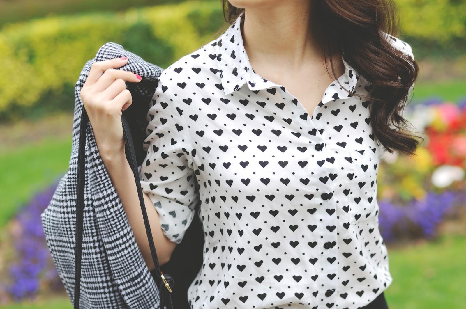 heart print blouse, heart print shirt, heart pattern shirt