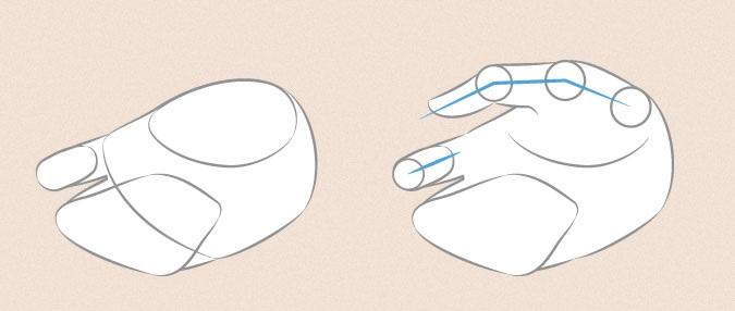 Tangan anime memegang jari dan ibu jari dan proporsi indeks