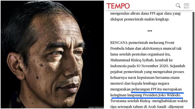 Jokowi Disebut yang Menginginkan FPI Dibubarkan Setelah Menerima Keluhan dari Pengusaha