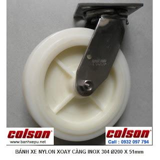 Bánh xe đẩy hàng càng inox xoay Nylon chịu nhiệt độ âm | 4-8499-824 www.banhxepu.net