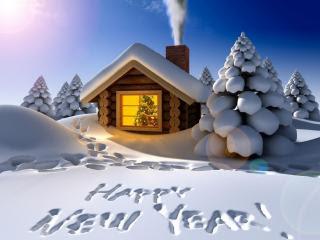 Sretna Nova godina, čestitka u snijegu download besplatne pozadine slike za mobitele