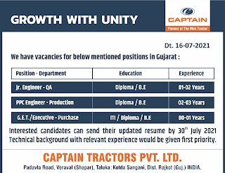 Captain Tractors Pvt. Ltd. Recruitment For ITI, Diploma And BE Candidates For Jr. Engineer, PPC Engineer, Executive in Purchase, QA and Production