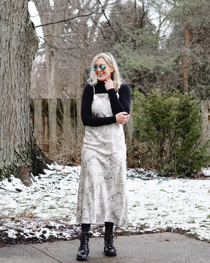 slip dress with tights