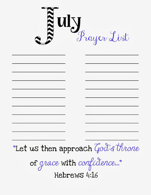 photograph about Prayer List Printable called Prayer Listing Printable - July - Doodles Sches
