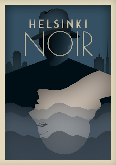Helsinki Noir exhibition poster - illustration