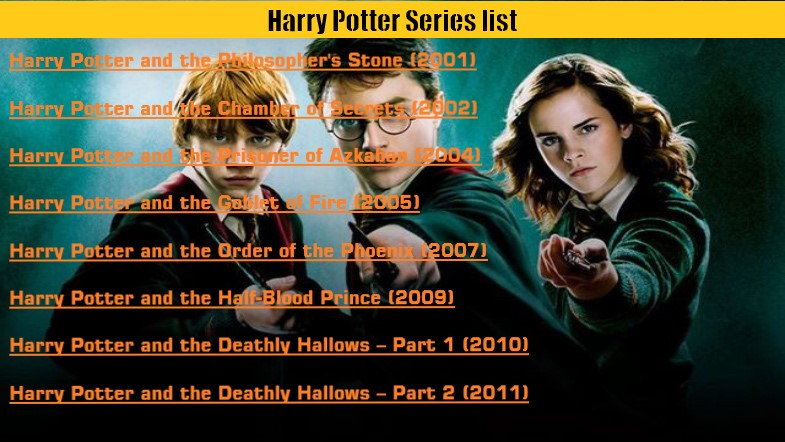 Showing Harry Potter Series in order