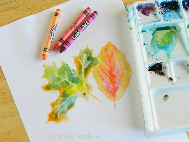 Fall Art Tutorial: Crayon and Watercolor Leaves | Grow Creative