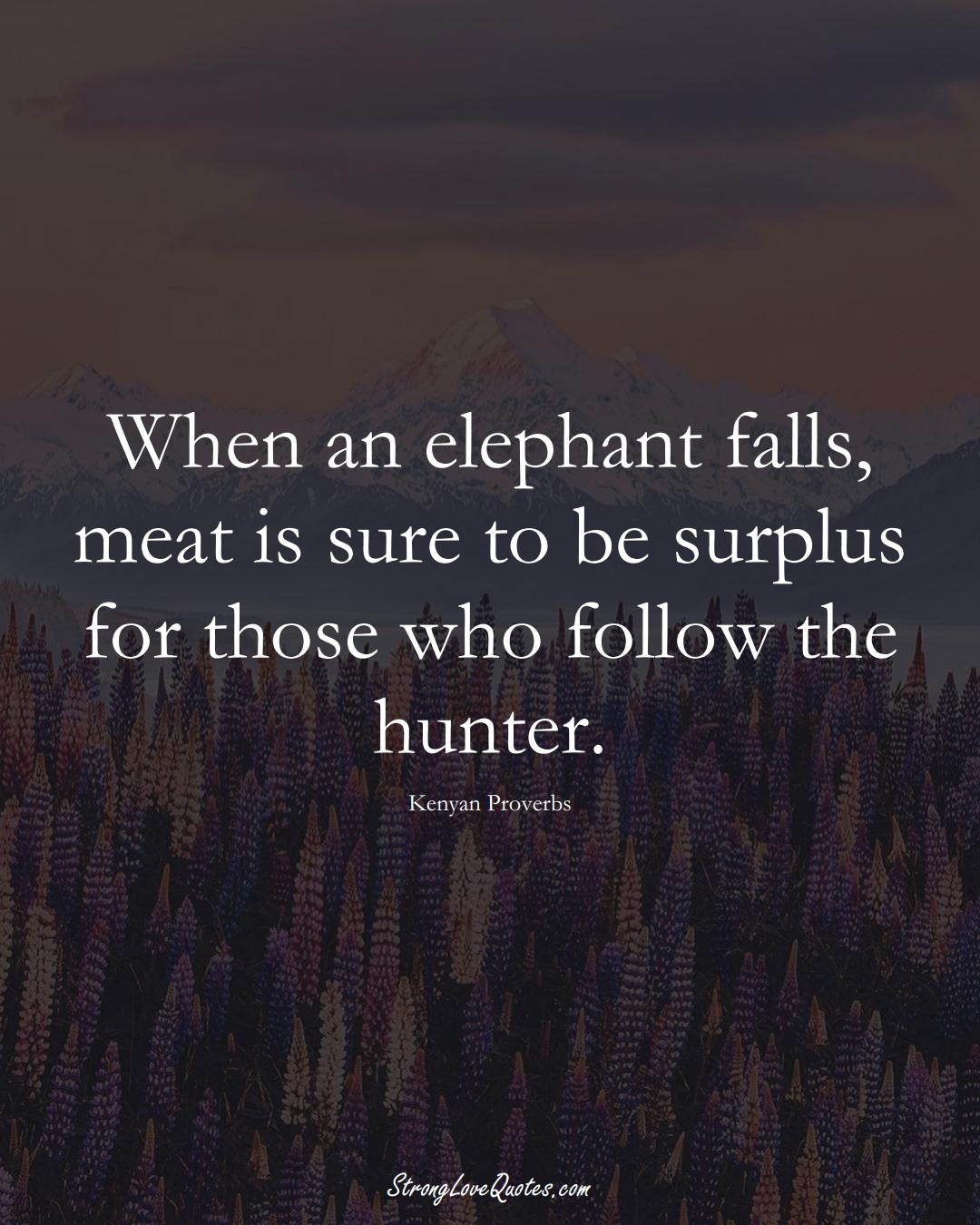 When an elephant falls, meat is sure to be surplus for those who follow the hunter. (Kenyan Sayings);  #AfricanSayings