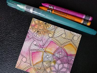 zentangle watercolor shading neocolor