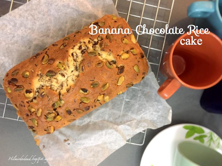 resepi banana chocolate rice cake