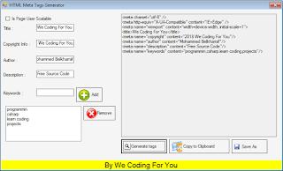 HTML Meta Tags,Rebots.txt,Sitemap Generator Source Code