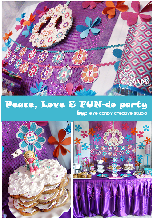 peace party, flower child, peace & love party, kids birthday party
