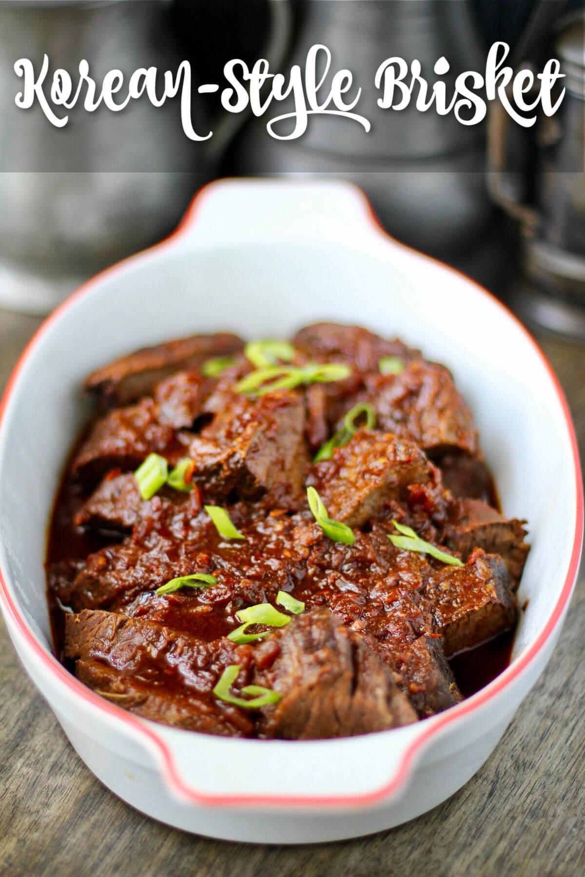 Korean-Style Chile-Braised Brisket on serving platter