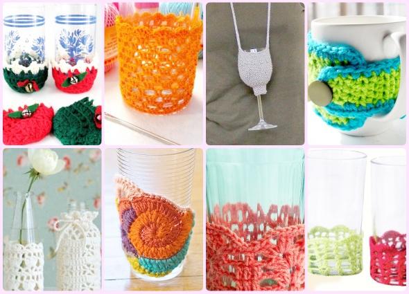 Hay piezas para el hogar encantadoras tejidas, hoy traemos Fundas de tazas, vasos, botellas y botes a crochet, y alguna cosica más relacionadas.