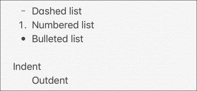 القوائم في تطبيق Notes