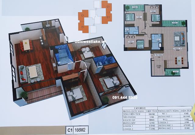 Thiết kế căn hộ C1 - tòa C chung cư UDIC Westlake