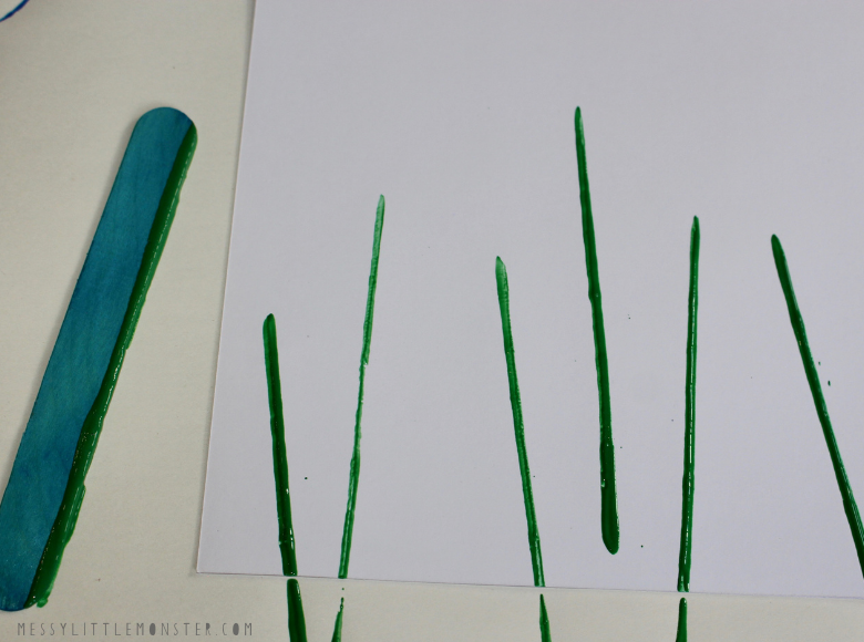 painting stems with a craft stick ready for fork painting