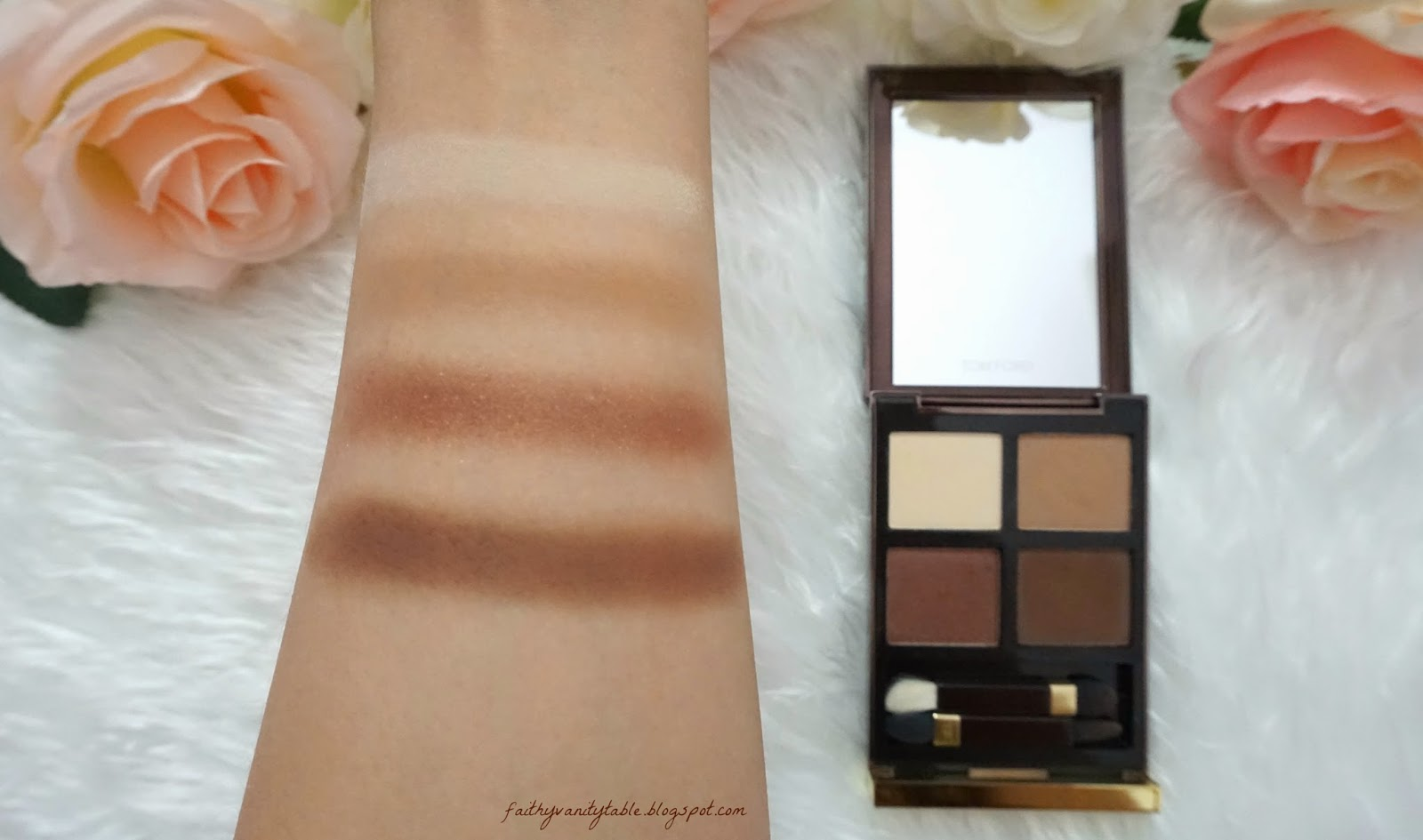 Swatches of Tom Ford Eyeshadow Quad, Cocoa Mirage