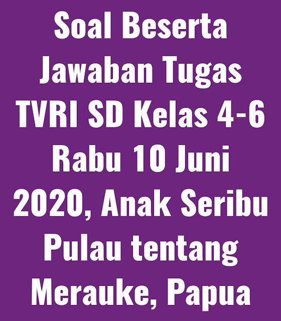 Soal Beserta Jawaban Tugas TVRI SD Kelas 4-6 Rabu 10 Juni 2020, Anak Seribu Pulau tentang Merauke, Papua