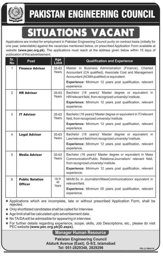 Latest Jobs in Pakistan Engineering Council June 2019