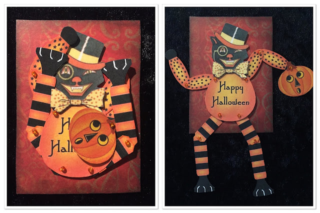 Movable Halloween cat ATC (Artist Trading Card)