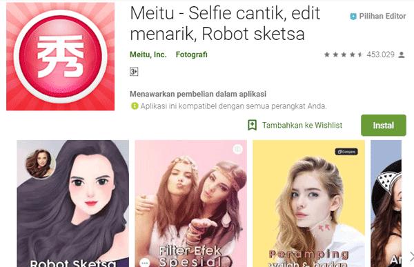 dapat mengubah gambar selfie mu menjadi kartun atau animasi