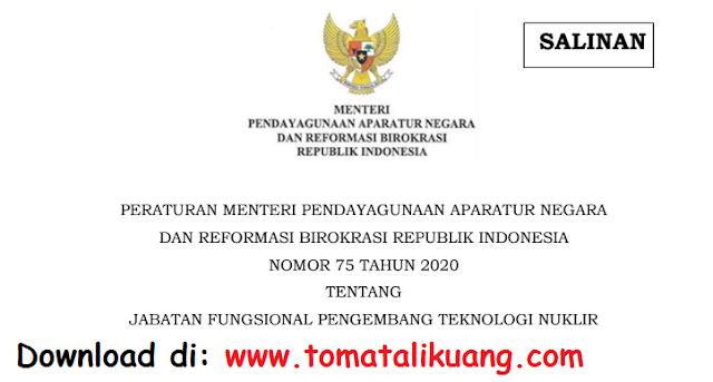 permenpan rb nomor 75 tahun 2020 tentang jabatan fungsional teknologi nuklir pdf tomatalikuang.com