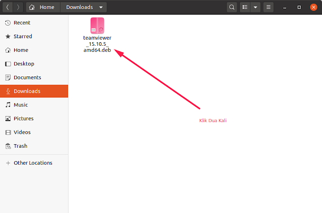 Buka file .deb Ubuntu Linux TeamViewer untuk Instalasi
