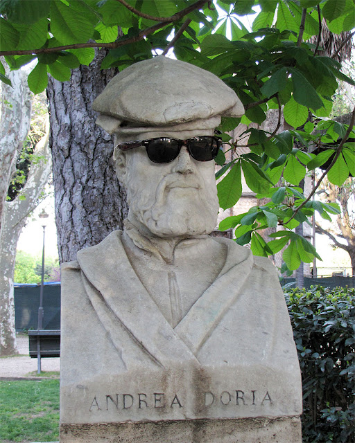 Bust of Andrea Doria with sunglasses, Pincian Gardens, Pincian Hill, Rome
