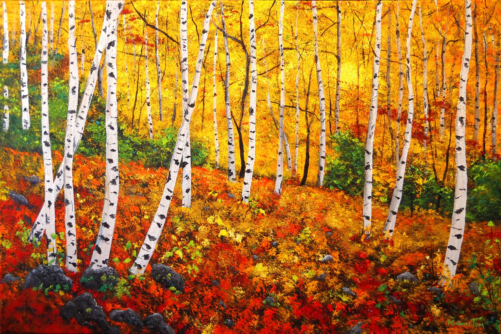 A Painting For You Quot Graceful Birch Trees In Autumn Quot Original Art By Connie Tom Aspen Trees