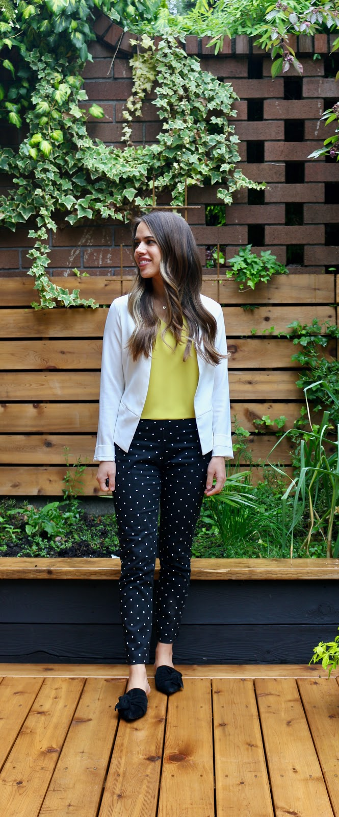 Jules in Flats -  Babaton Murphy Blouse with White Blazer (Business Casual Workwear on a Budget)