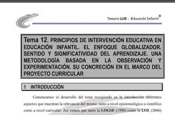 Ejemplo de un tema de las Oposiciones de Infantil. Tema 12. Principios de Intervención Educativa