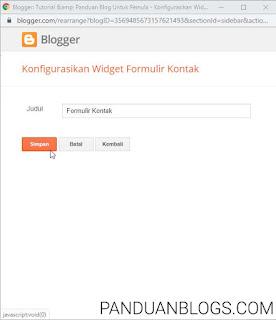Cara Membuat Laman Contact Form (Contact US) di Blogger