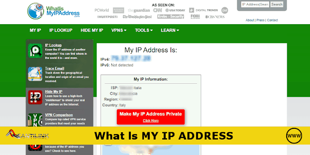What ls MY IP ADDRESS, IP, indirizzo IP, ISP