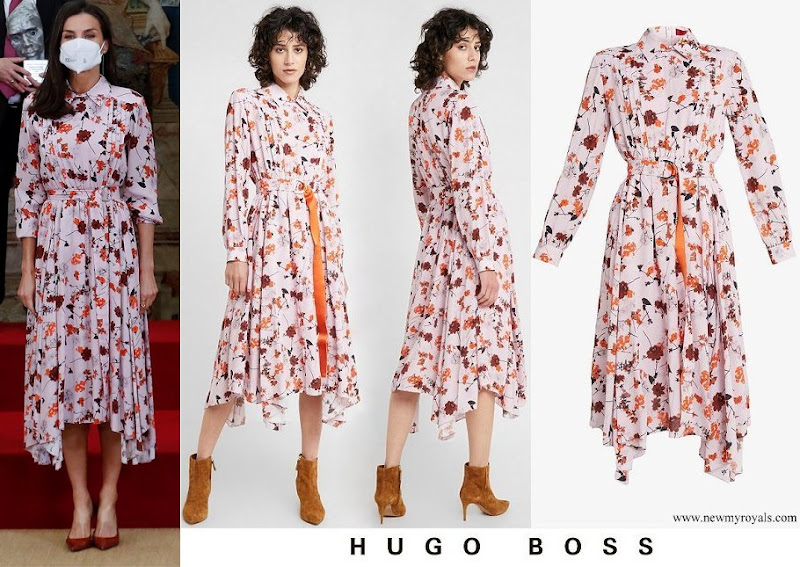 Queen Letizia wore Hugo Boss Kalocca floral print shirt dress