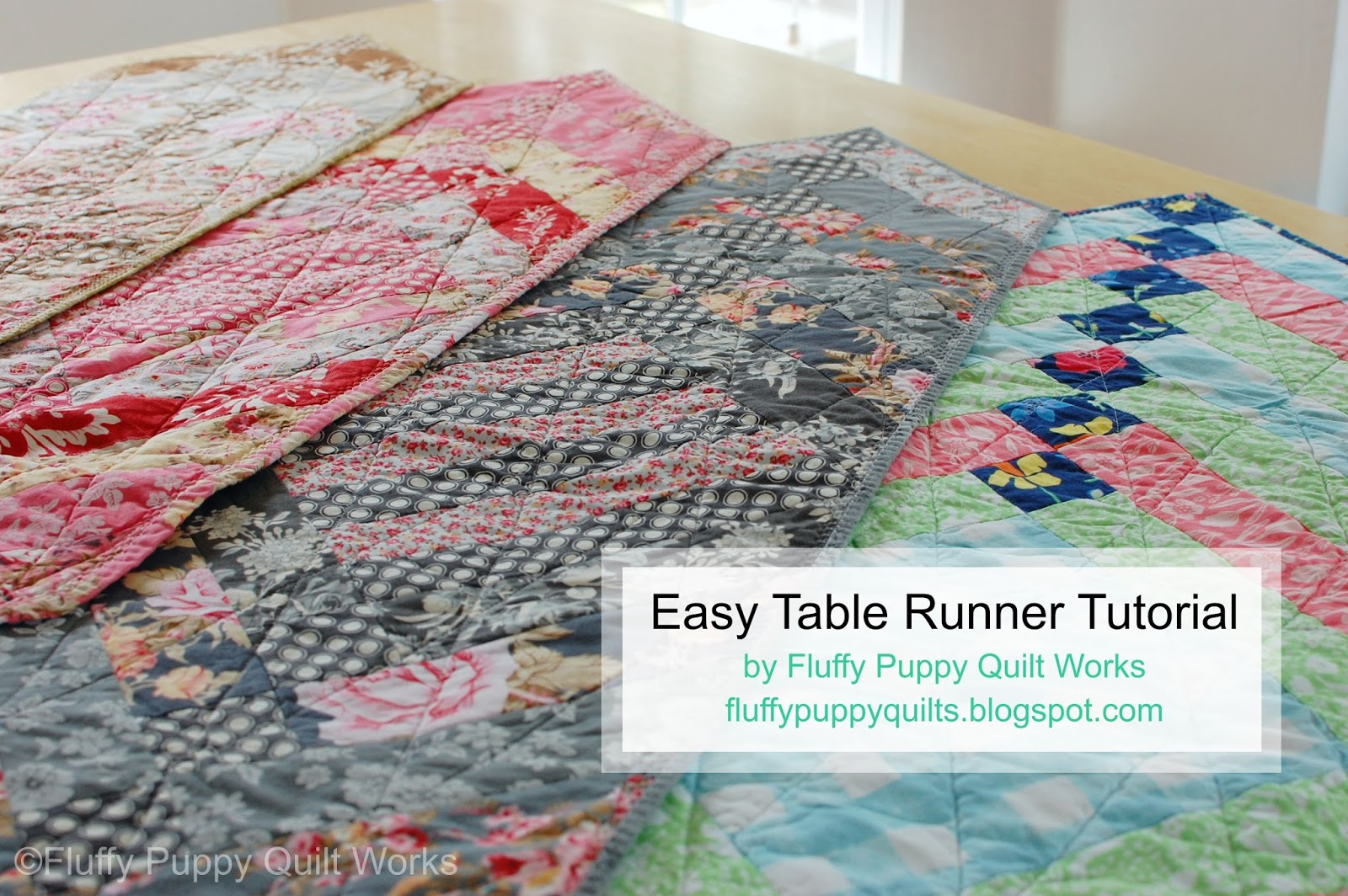 Fluffy Puppy Quilt Works Easy French Braid Table Runner