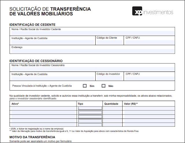 solicitação de transferência de valores mobiliários