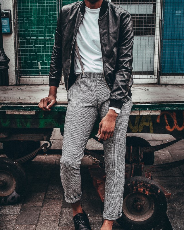 Suspenders under jacket, men's outfit.